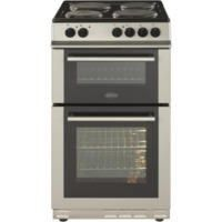 Belling FS50ET 50cm Double Cavity Electric Cooker With Sealed Plate Hob - Silver Best Price, Cheapest Prices